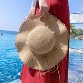 帽子 帽子女夏天沙灘帽韓版百搭可折疊草帽戶外出游度假防曬太陽帽