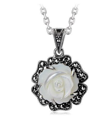 項鏈女銀飾品 貝殼花朵項鏈長短款吊墜