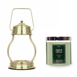 (組)EPOCHSIA x Pray 守夜人金屬香氛蠟燭暖燈(L)-復古金+柑橘