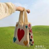 超火ins泫雅風單肩包愛心針織手提包流行包包女學生 完美情人館