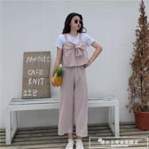韓版時尚休閒套裝夏裝女裝假兩件T恤上衣 條紋闊腿褲九分褲兩件套『韓女王』