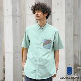 GLOBAL WORK男素面條紋格紋口袋短袖襯衫上衣-三色