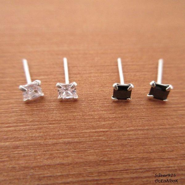 ☆§海洋盒子§☆4mm秀氣尺寸~爪鑲方形鋯石純銀耳環《可戴耳骨.耳窩》