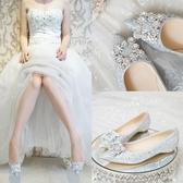 平底單鞋女2018新款夏韓版百搭孕婦結婚鞋子新娘鞋方扣水晶婚紗鞋 快速出貨