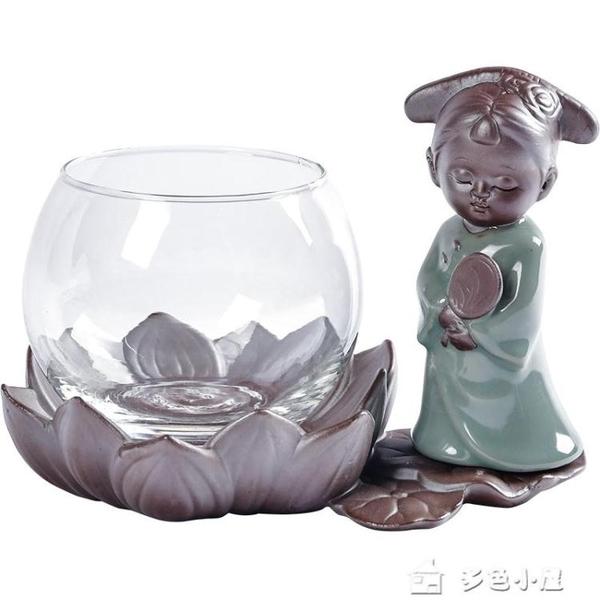 花瓶花器人窯坊綠蘿水培玻璃透明花瓶銅錢草容器陶瓷花盆插花裝飾器皿擺 多色小屋
