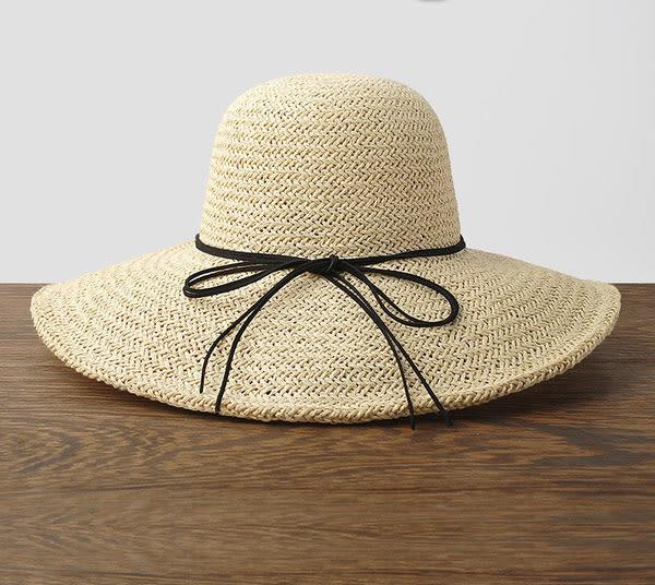 時尚夏日遮陽草帽 可折疊沙灘遮陽帽1