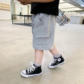 男童短褲 男童短褲兒童褲子夏外穿寶寶夏裝男小童純棉運動五分褲黑色薄款-Ballet朵朵