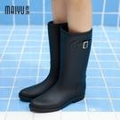 雨鞋女時尚款外穿成人水靴兩穿防水馬靴雨靴加絨中筒女士水鞋防滑 快速出貨