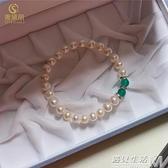 母親節禮物淡水珍珠手錬 白色簡約女款送媽媽婆婆款禮物手串 卡布奇诺