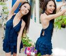 ★草魚妹★編號33韓國深藍修身洋裝美背泳衣游泳裝泳衣,直購價680元
