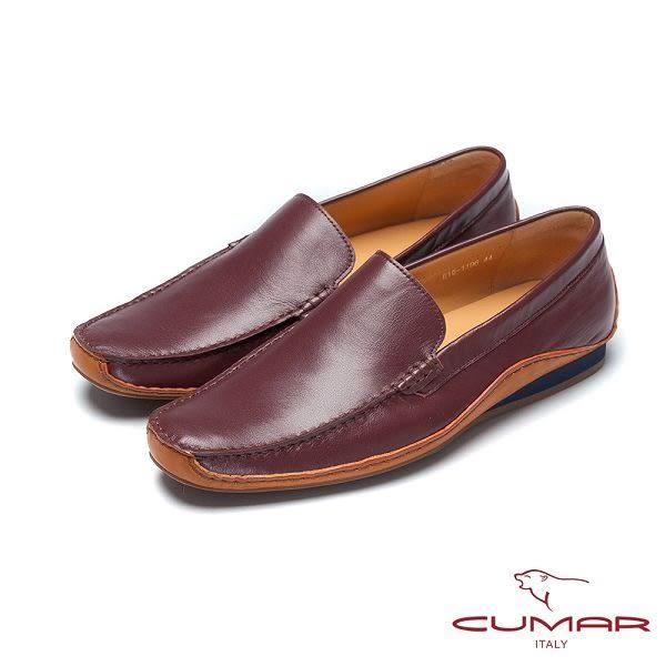 CUMAR嚴選真皮 胎牛皮休閒皮鞋-紅