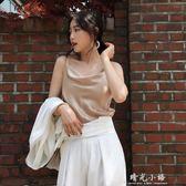 2018夏季新品緞面蕩領吊帶裙中長款洋裝打底背心女裝 晴光小語