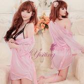 情趣睡衣 性感內衣 蕾絲款 情趣用品 浪漫典雅!迷人柔緞睡衣三件組﹝粉﹞【530867】