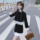 兩件套裝 春季套裝女兩件套洋氣褲子高腰短褲 荷葉邊娃娃領上衣初春兩件套【韓國時尚週】