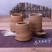 筆筒 筆筒辦公室創意時尚可愛學生藤編復古中國風收納盒簡約化妝工具筒 星隕閣 星隕閣