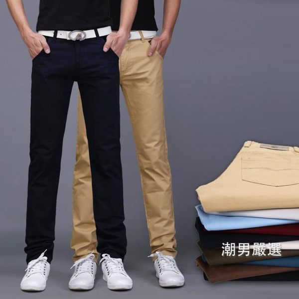 長褲夏天男士休閒褲男夏季厚款夏褲青年學生棉質長褲修身直筒男生褲子30-38