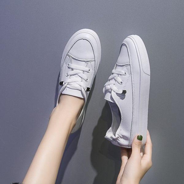 護士鞋淺口小白鞋女厚底春百搭鞋平底簡約一腳蹬護士軟底單鞋女 時尚新品