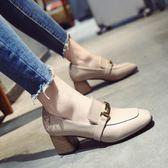 鞋子女2018春季新款女鞋韓版百搭粗跟高跟鞋