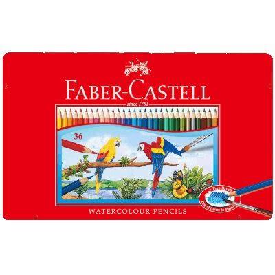 Faber-Castell 水性色鉛筆紅色精緻鐵盒裝36色組