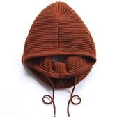 羊毛毛帽-條紋純色護耳套頭女針織帽6色73wj6[時尚巴黎]