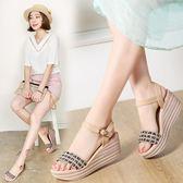 厚底涼鞋 時尚坡跟涼鞋編織麻繩防水臺休閒高跟鞋 巴黎春天