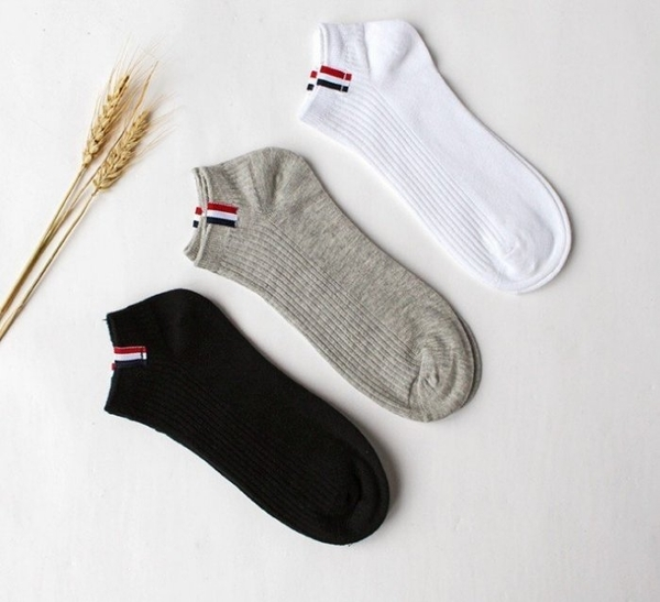 韓版經典藍白紅標隱形短襪 日系潮流風船襪 情侶襪男女皆可穿中性襪 非運動長筒襪