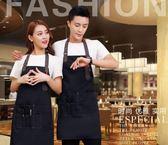 圍裙正韓時尚牛仔帆布圍裙定制LOGO西餐廳酒吧咖啡烘焙畫室工作服印字(一件免運)