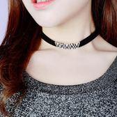 頸鍊項圈 幾何寬版正韓鎖骨潮歐美女全館免運新品黑色項鍊頸帶