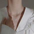 項鍊 純銀飾蝴蝶項鍊女仙氣雙層疊戴輕奢小眾鎖骨鍊夏2021年新款設計感 寶貝寶貝計畫 上新