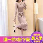 長袖洋裝連衣裙女秋冬新款釘珠寬鬆針織長款毛衣裙過膝打底裙加厚長裙-『美人季』