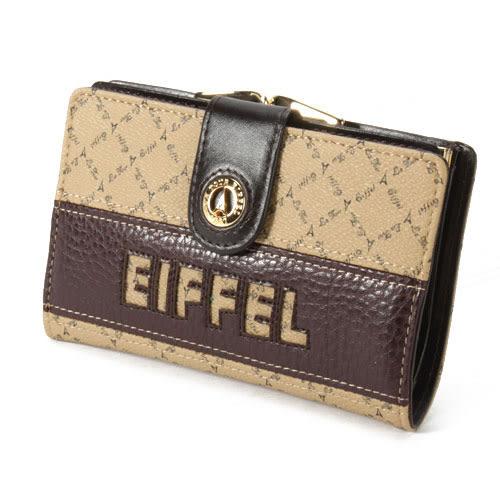 La Tour Eiffel艾菲爾鐵塔格紋PVC蝴蝶扣中夾(卡其色)530050-1