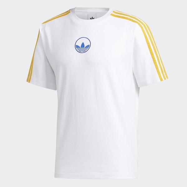 Adidas Originals 3-Stripes Circle 男裝 短袖 T恤 休閒 三葉草 棉 白黃【運動世界】GD2122