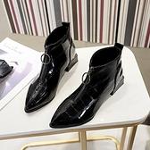 短靴 靴子女黑色春秋2020新款英倫前拉鏈馬丁靴百搭單靴冬季粗跟靴 店慶降價