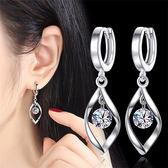 純銀耳扣韓國簡約銀飾品S925銀耳環超閃水晶鋯石小耳圈耳墜防過敏夢想巴士