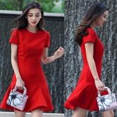 新款baby明星同款禮服短袖結婚敬酒服中長款時尚紅色連身裙夏 艾瑞斯居家生活