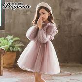 女童裙子 女童洋裝秋冬新款兒童加絨冬裙子小女孩超洋氣蓬蓬紗公主裙  遇見寶貝
