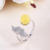 戒指 925純銀 琥珀-細緻翅膀生日情人節禮物女開口戒73ga22【時尚巴黎】