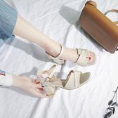 港味復古chic涼鞋2018女夏新款夏季粗跟百搭韓版少女小清新高跟鞋