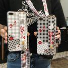 OPPO R9 Plus 全包手機套 方格愛心手機殼 腕帶支架 帶斜跨繩 清新文藝保護殼 矽膠防摔保護套 軟殼