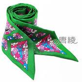 【Hermes 愛馬仕】童趣房屋繽紛造型Twilly絲巾/領結(綠X粉色)