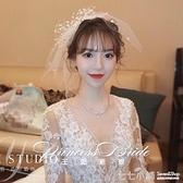 新娘超仙頭飾日韓式網紗蝴蝶結發飾短頭紗飾品婚紗森女系旅拍配飾