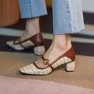 手工真皮女鞋34~39 2020新款韓版時尚優雅頭層牛皮方頭瑪莉珍鞋 中跟鞋~3色