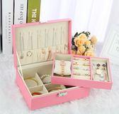 首飾盒公主歐式韓國木質帶鎖耳釘耳環簡約首飾收納盒飾品盒大   汪喵百貨