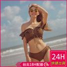 【現貨】梨卡 - 韓國甜美[集中+性感顯瘦]一字領純色小碎花印花二截式兩件式比基尼泳裝泳衣CR530-1