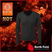 【North Field美國 男 V領遠外線內衣《岩黑》】108B/保暖衣/發熱衣/膠原蛋白/吸濕排汗/親膚