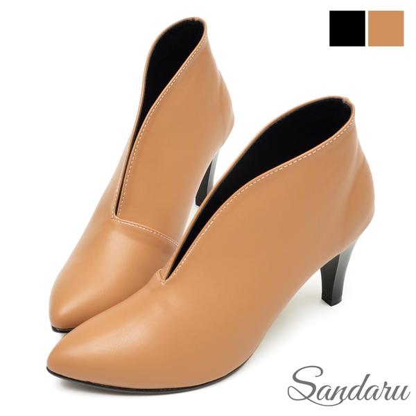 裸靴 美型V口素色細跟靴-棕