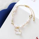 手鍊 甜美可愛小白兔氣質珍珠手鏈 簡約時尚愛心形學生少女風手镯手飾