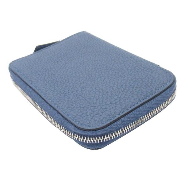 HERMES 愛馬仕 Bleu Brighton 7E布萊頓藍牛皮ㄇ字型拉鍊卡片零錢包  A刻 Azap Compact