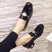 新款韓版復古珍珠鞋皮鞋女鞋子時尚中跟鞋水?單鞋方頭淺口鞋 居享優品