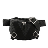 【BOTTEGA VENETA】新款橡膠拼棉質帆布編織V圖樣腰包(黑色) 652551 V0GK1 8803